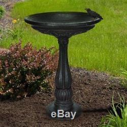 Birdbath Bird Bath Water Bowl Garden Outdoor Black Natural Stone Handcrafted