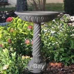 Birdbath Deep Bowl Bird Bath Aged Granite Outdoor Decoration Garden Stone Resin