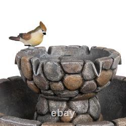Birdbath Fountain Decorative Outdoor Garden Patio Polyresin 2-Tierd Stone-Like
