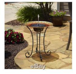 Birdbath Fountain Solar Sunflower Glass Sturdy Steel Base Deck Garden Outdoor