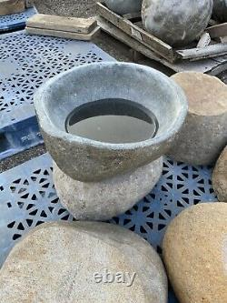 Birdbath Japanese Zen Garden Granite stone bowl water Basin fountain
