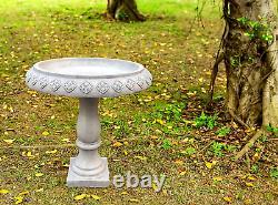 Birdbath Sitting Pedestal Bird Bath Garden Traditional Flower Weathered Concrete