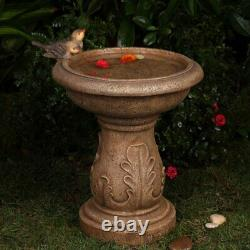 Birds Pedestal Birdbath Garden Sculpture Bird Bath Art Yard Water Bowl Decor