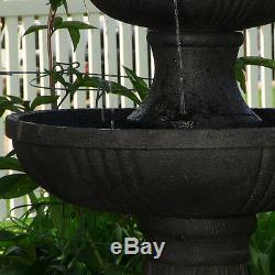 Black 3 Tier Electric Water Fountain Outdoor Garden Bird Bath Yard Decoration