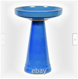 Blue Ceramic Bird Bath Garden Bowl Pedestal Outdoor Sculpture Yard Decor Lawn