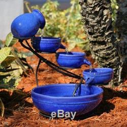 Blue Ceramic Cascading Fountain Outdoor Garden Yard Bird Bath with Solar Pump
