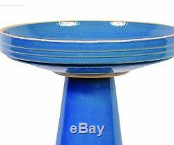 Blue Ceramic Garden Bowl Pedestal Bird Bath Glazed Out Door Sculpture Yard Decor