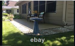 Blue Ceramic Garden Bowl Pedestal Bird Bath Glazed Outdoor Sculpture Yard Decor