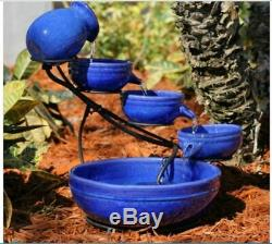 Blue Ceramic Outdoor Cascading Water Fountain Bird Bath Solar Pump Garden Bowls