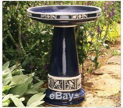 Blue Glazed Bird Bath Bowl Pedestal Outdoor Ceramic Sculpture Garden Decor NEW