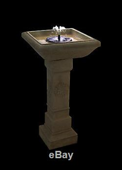 Budding Dalia Solar Bird Bath Water Fountain Feature Garden Yard Outdoor w Light