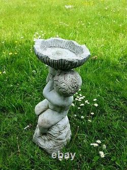 CHERUB ANGEL BIRD BATH FEEDER Stone Statue Highly Detailed Garden Ornament Decor