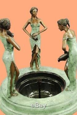 Cast Bronze Fountain Bird Bath Women 52 Tall Garden/Patio Decoration Figurine