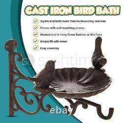 Cast Iron Bird Bath Feeder Garden Decor Wall Mounted Bracket Birdbath Seed Tray