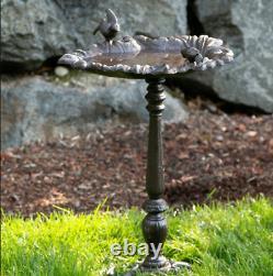 Cast Iron Bird Bath Leaf Design Outdoor Bowl Birdbath Garden Yard Fountain Water