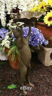 Cast Iron Curious Cat With 2 Birds In Nest Bird Feeder Or Bath Garden Statue