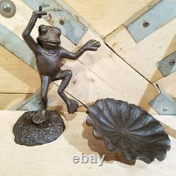 Cast Iron Frog Bird Bath Sculpture Outdoor Garden Decor Swanky Barn