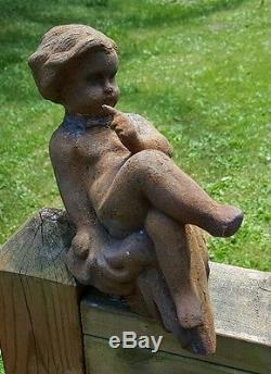 Cast Iron Hush Water Baby Cherub Birdbath Fountain Fence Garden Decor