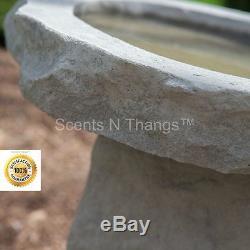 Cast Stone Bird Bath Modern Pedestal Garden Outdoor Yard Art Birdbath Sculpture