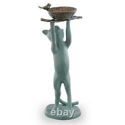 Cat Bird Feeder Birdbath Standing Cat Holding Bird Dish Cat Shaped Kitty Statue