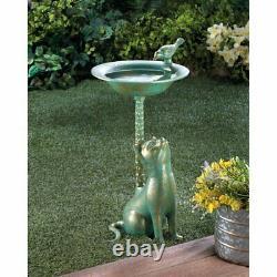 Cat Birdbath Bird Bath Outdoor Bowl Garden Yard Fountain Water Antique Decor