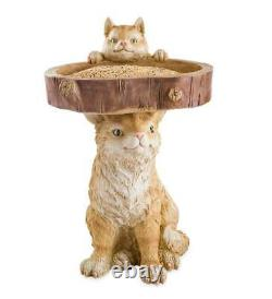 Cat Kitten Resin Bird Bath Feeder Indoor Outdoor Lawn Garden Accent Decor 21H