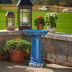 Ceramic Bird Bath Blue Wildlife Supply Home Outdoor Garden Yard Decor Accessory