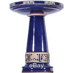 Ceramic Birdbath Hand Painted Pedestal Blue Bird Bath Glazed Bowl Garden Decor