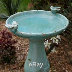 Ceramic Birdbath Water Bowl Bird Bath with Birds Antique Turquoise Garden Decor