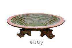 Ceramic Bowl Bird Bath with Feet Stand Echo Large Birdbath Garden Decir