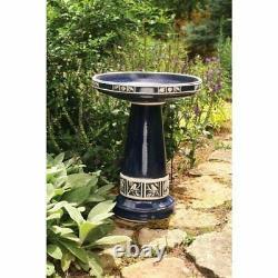 Ceramic Outdoor Glazed Garden Lawn Bird Bath Set Green