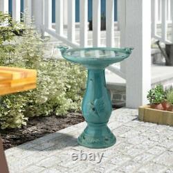Ceramic Pedestal Birdbath Vintage Rustic Garden Sculpture Bird Bath Art Water