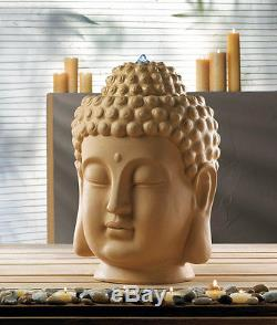Ceramic zen garden outdoor 18 Buddha head bird bath patio Fountain large statue