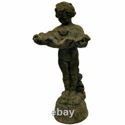 Cherub Birdbath Vintage Pedestal Bird Bath Garden Sculpture Statue Outdoor Bowl