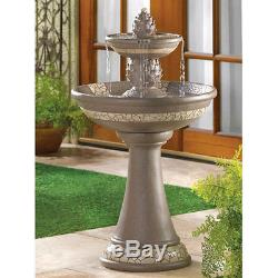 Classic Pineapple 2 Tier Outdoor Garden Fountain And Bird Bath