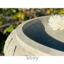 Concrete Lightweight Traditional Outdoor Decorative Garden Birdbath, Weathered