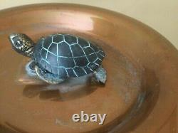 Copper Birdbath Turtle withGarden Pole One-of-A Kind Item
