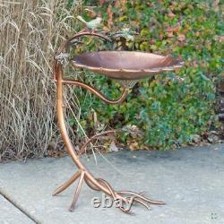 Copper Scallop Edge Bird Bath with Branch Stand Yard, Deck, Patio, Garden
