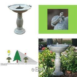 Country Gardens Gray Weathered Stone Solar Birdbath Fountain