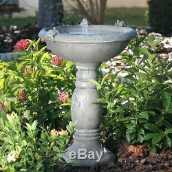 Country Gardens Solar Birdbath Gray Weathered Stone