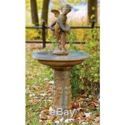 Cupid Bird Bath Fiber Stone Handcrafted USA Garden Sculpture 24W 24D 51H