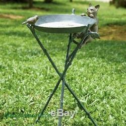 Curious Cat Bird Birdbath Fun Garden Statue Sculpture Bird Bath Aluminum