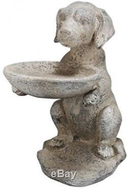 Cute Dog Statue Bird Feeder Birdbath Garden Lawn Quality Ceramic Sculpted New