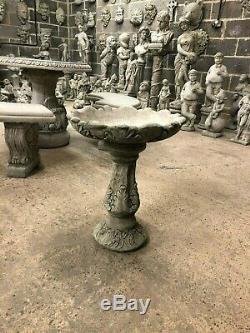 Decorative leafy bird bath feeder traditional Garden concrete stone ornaments SP