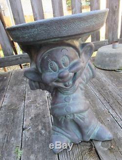 Disney Snow White Dopey Dwarf Bird Bath Garden Statue Plant Stand Lawn Ornament