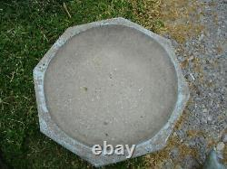 Divine Blue Vintage Cement/concrete Tabletop Birdbath & Old Cast Metal Pigeon