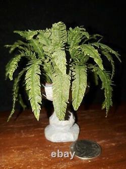 Dollhouse Miniature Exquisite Boston Fern Plant in Birdbath for Garden Artisan