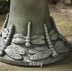 Dragonfly Birdbath Pedestal Garden Sculpture Statue Bird Art Yard Water Bowl