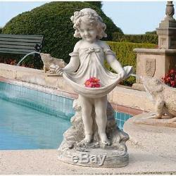 Dressed Up Flower Girl Apron Victorian Miss Child Home Garden Birdbath Statue