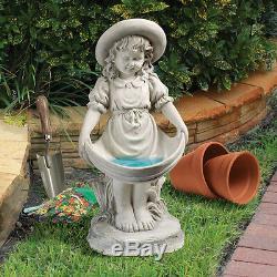 Dressed Up Little Girl Sundress Apron Child Garden Statue Birdbath or Feeder